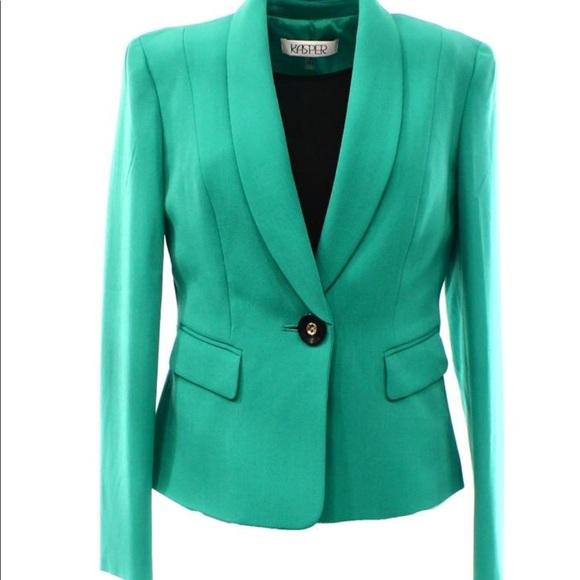 3770145549d NWT Kasper Sz 16 parrot green single button blazer